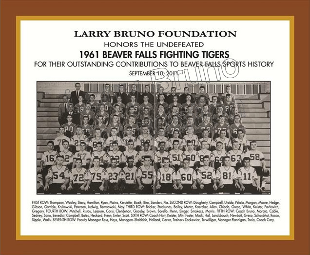 1961 Beaver Falls Football Team Plaque 2011