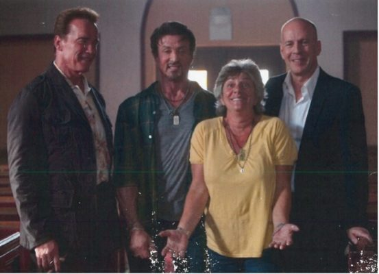 Sheryl With Friends Arnold, Sly And Bruce.